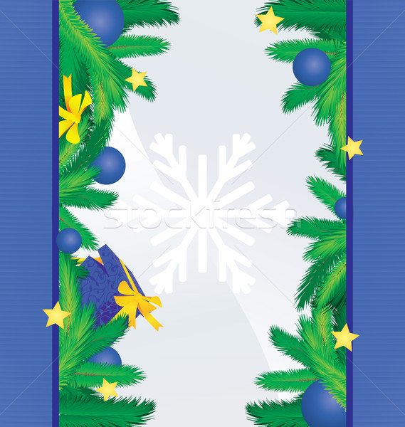 colorful blue sides with christmas tree brunches, decor and gift Stock photo © cherju