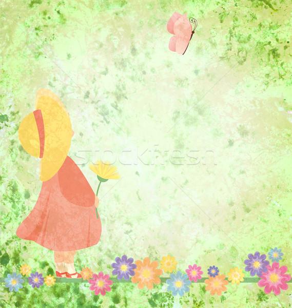 Stockfoto: Meisje · roze · jurk · Geel · hoed · bloemen