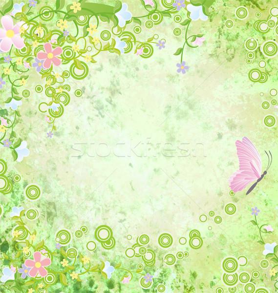 Zöld grunge színes pillangók keret tavasz Stock fotó © cherju