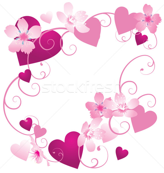 Vector pink and purple hearts frame with floral decor for Cadre floral mural