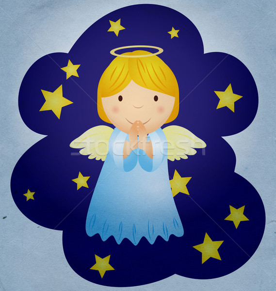 Klasszikus karácsony angyal éjszakai ég égbolt szeretet Stock fotó © cherju