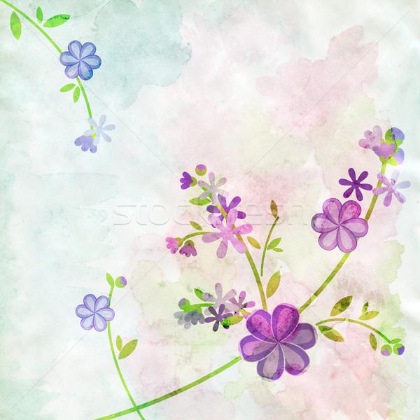 Virágok fényes vízfesték virág terv festék Stock fotó © cherju
