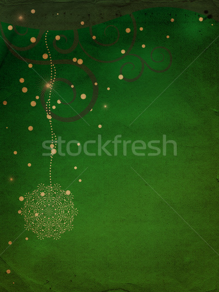Grunge zöld tél hópelyhek papír terv Stock fotó © cherju