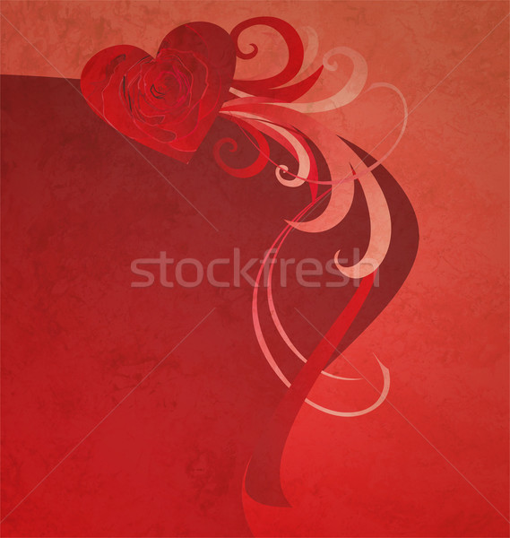red heart with red rose grunge abstract background for love and  Stock photo © cherju