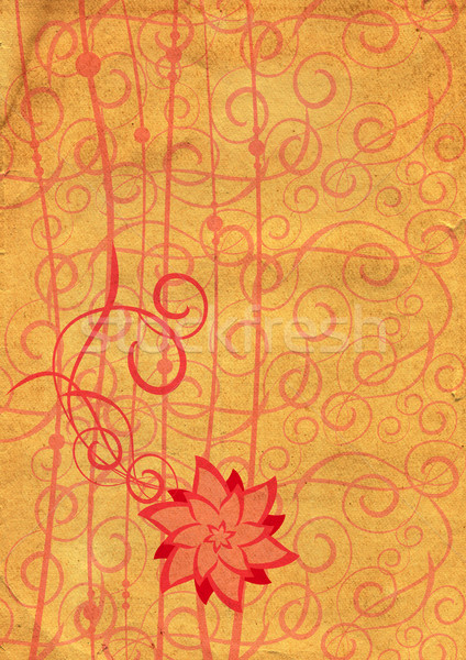 flowers illustraton old textured paper yellow tint Stock photo © cherju