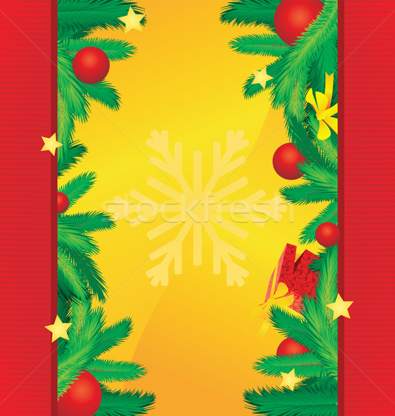 vector christmas red borders on golden background with xmas tee  Stock photo © cherju