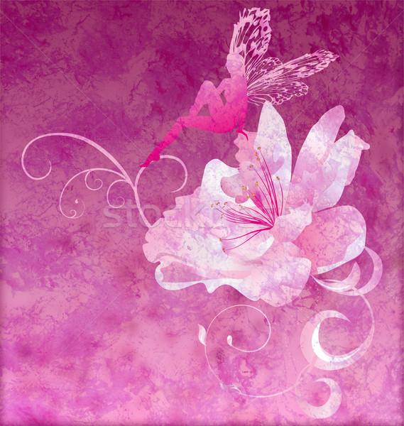 pink little flower fairy on the dark magenta spring or summer gr Stock photo © cherju