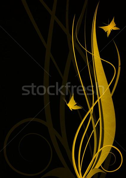 golden color floral decor illustration on grunge black backgound Stock photo © cherju