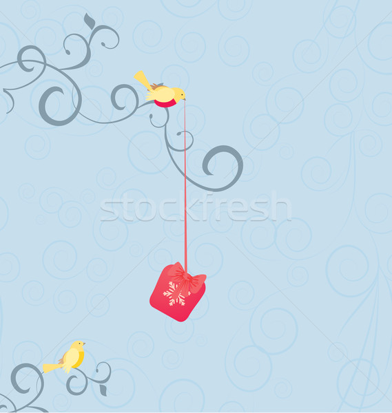 vector bird with gift on the tree Stock photo © cherju