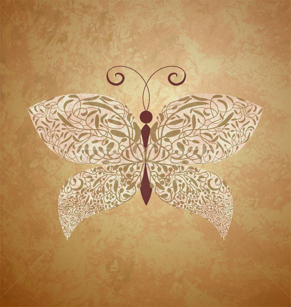 golden butterfly on dark brown vintage background Stock photo © cherju