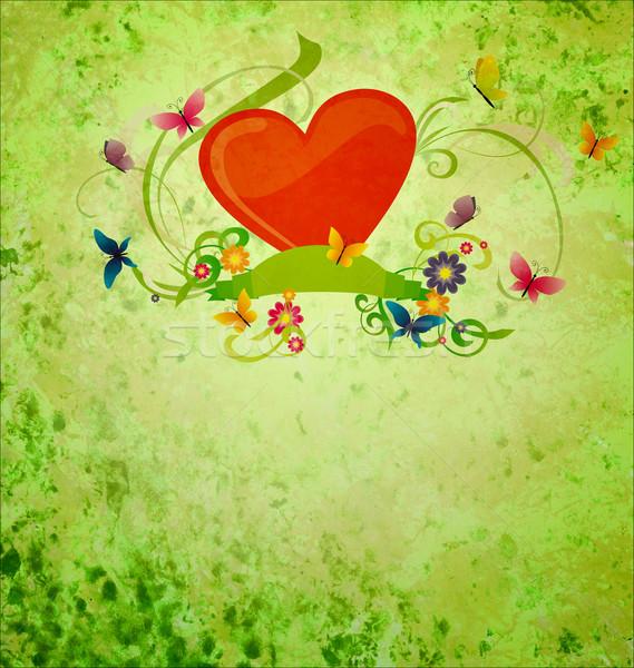 red hear, banner scroll, butterflies and flowers on green gunge  Stock photo © cherju