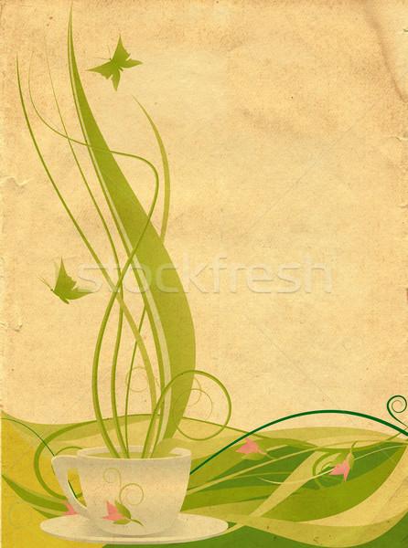 Groene thee boom voorjaar voedsel ontwerp zomer Stockfoto © cherju