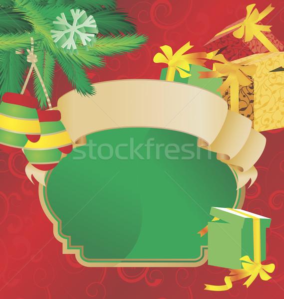 Navidad desplazamiento vintage ilustración cajas de regalo árbol Foto stock © cherju