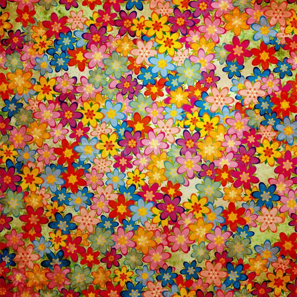 Grunge színes virágok minta klasszikus papír Stock fotó © cherju