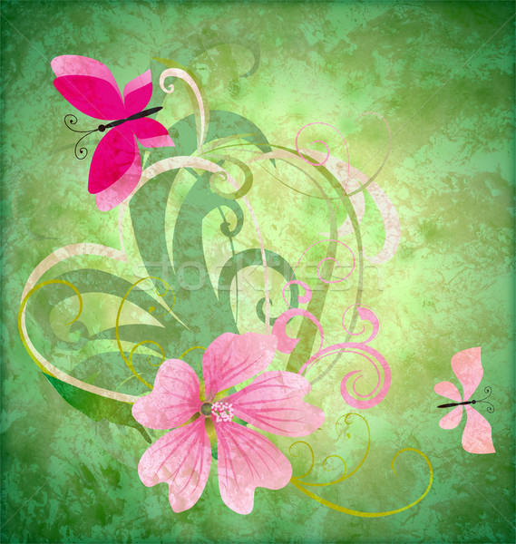 spring butterfly and pink flower on grunge green background east Stock photo © cherju