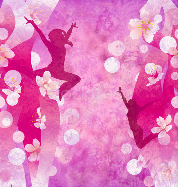 three urban modern dancing women silhuettes on the red or pink g Stock photo © cherju