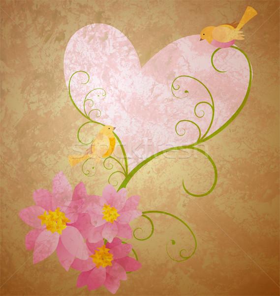 Madarak szeretet rózsaszín virágok szívek grunge Stock fotó © cherju