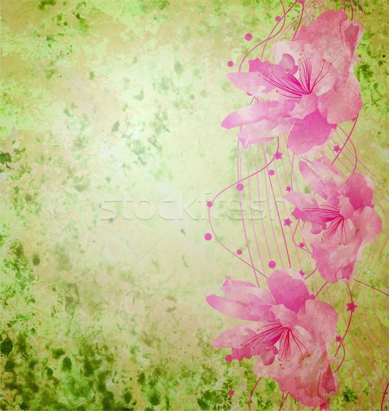 Roze bloemen romantische voorjaar vintage liefde Stockfoto © cherju