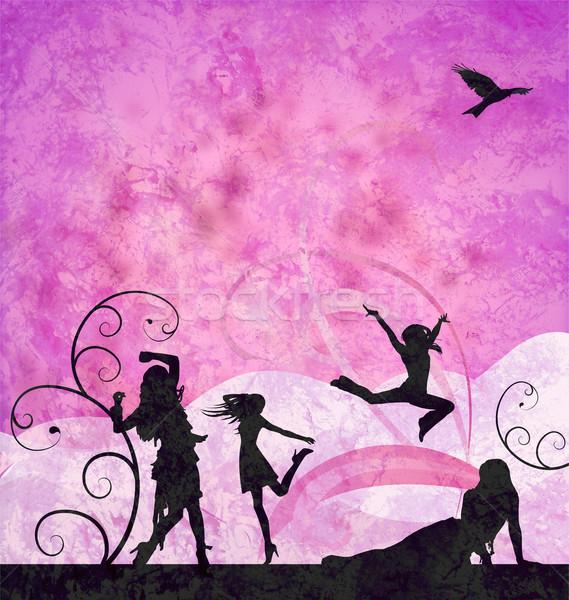 Divat lányok sziluettek grunge rózsaszín ibolya Stock fotó © cherju