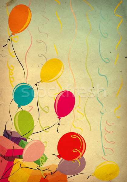 Stock photo: colorful balloons on old paper background