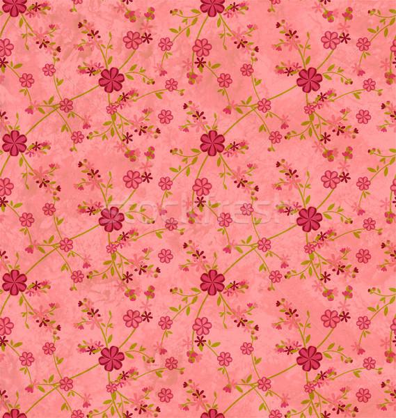 Flores patrón papel grunge vintage aumentó Foto stock © cherju