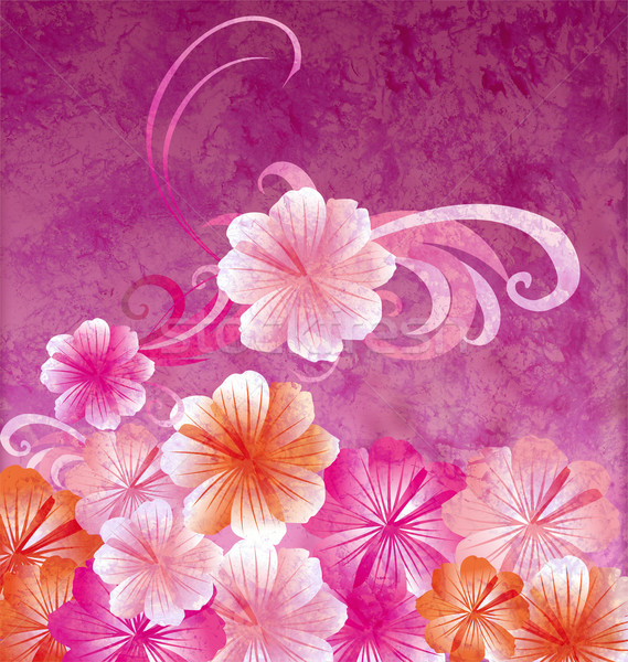 Stock photo: pink flowers on dark pink background grunge illustration