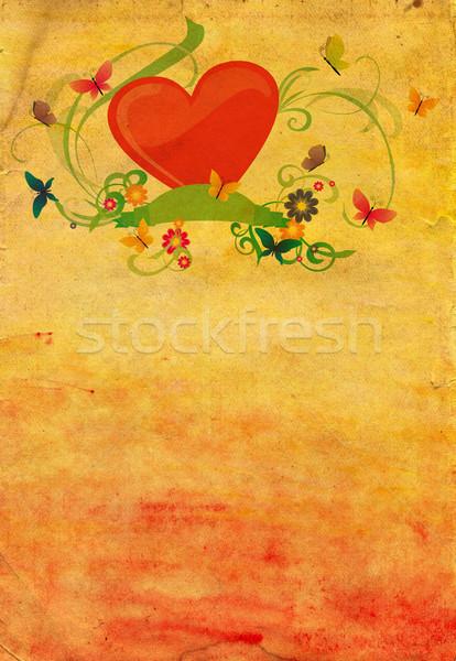 Amarillo papel en blanco rojo corazón textura feliz Foto stock © cherju