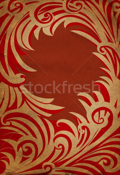 Piros régi papír tél dekoráció keret papír Stock fotó © cherju