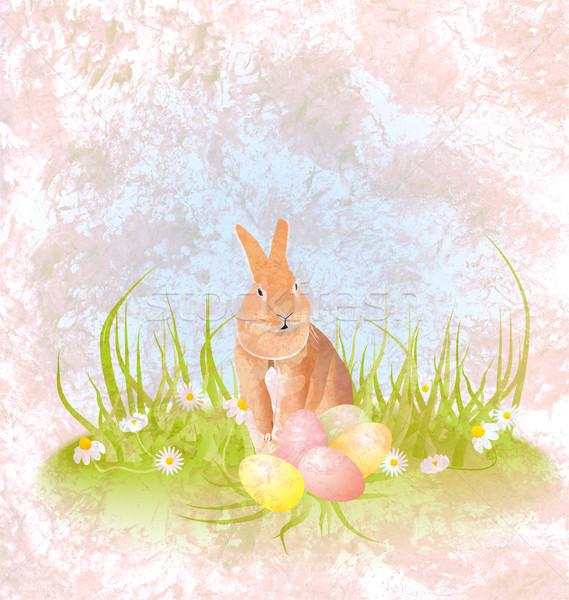 коричневый заяц кролик сидят трава пасхальных яиц Сток-фото © cherju