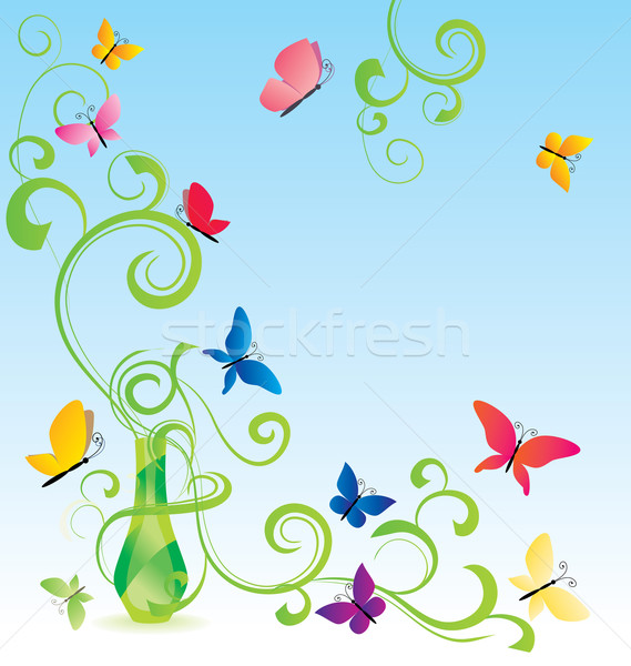 green spring fragrance bottle with flourishes and butterfly Stock photo © cherju