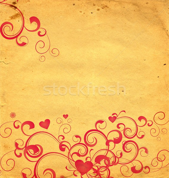 yellow old paper background with red hearts and flourishes Stock photo © cherju