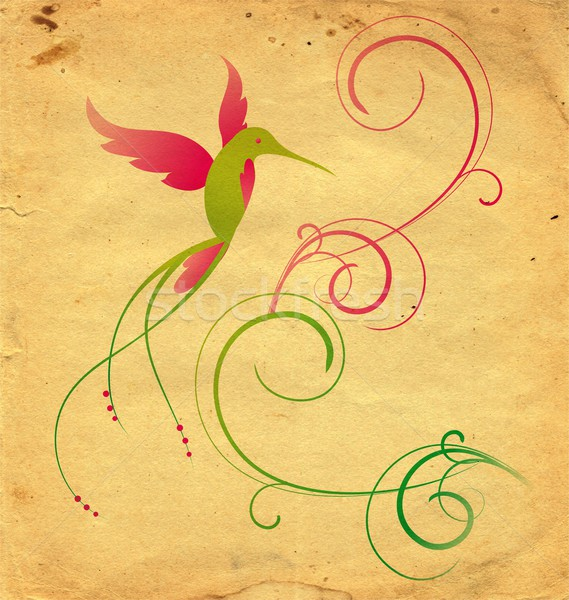 colibri bird and flourishes grange background Stock photo © cherju