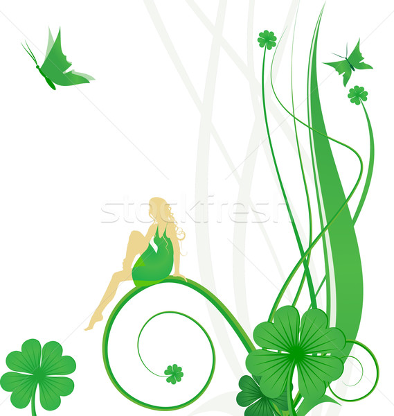 Dag vector fairy vlinders klaver groene Stockfoto © cherju