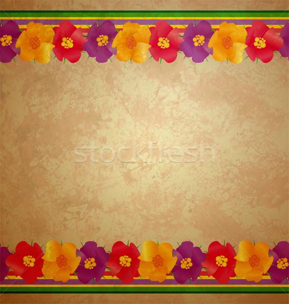 Színes virágok keret barna tavasz természet Stock fotó © cherju