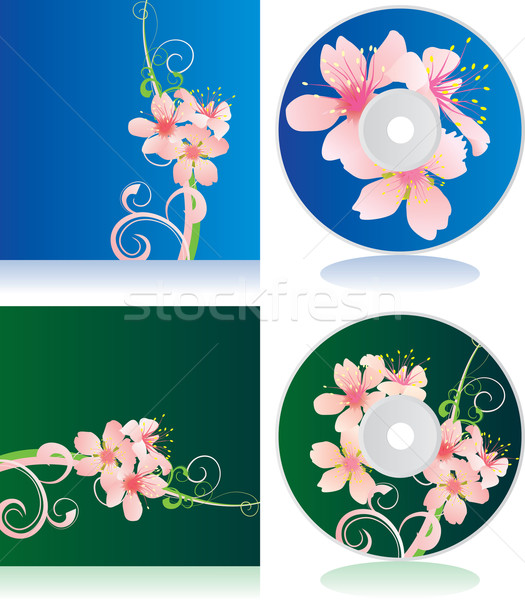 vector set of disc covers with flowers Stock photo © cherju