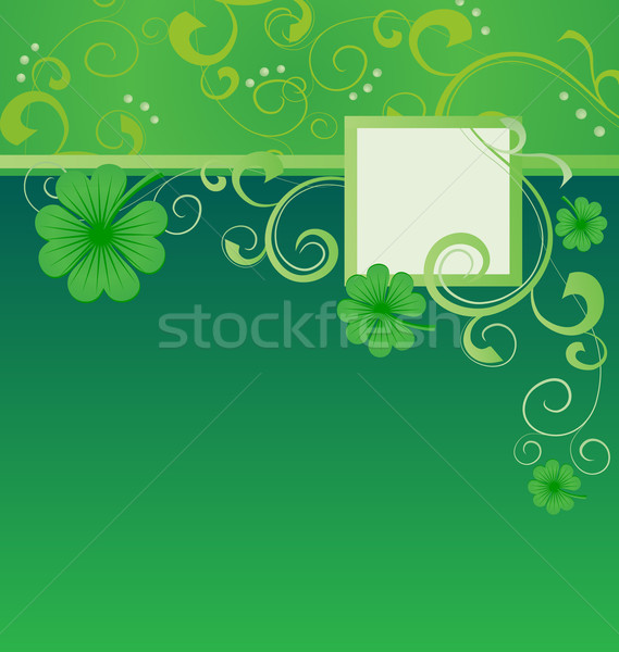 green vector St. Patrick day frame with clover Stock photo © cherju