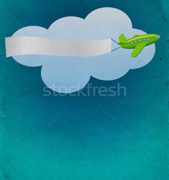 Retro zöld repülőgép szalag felhő kék Stock fotó © cherju