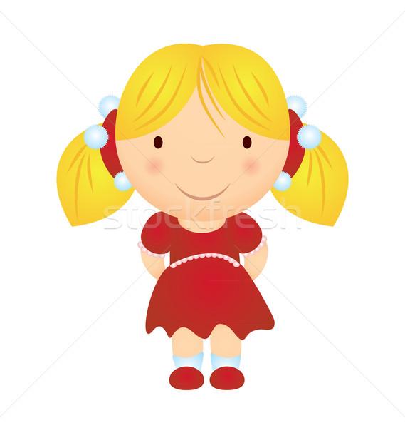 Vector cartoon glimlachend blond meisje christmas Stockfoto © cherju