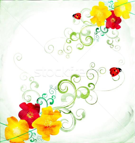 Piros citromsárga vízfesték illusztráció virág textúra Stock fotó © cherju