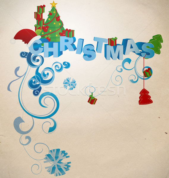 christmas 3D text in vintage style Stock photo © cherju