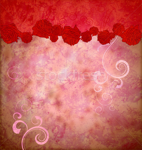 grunge red roses and hearts border flourishes background idea fo Stock photo © cherju