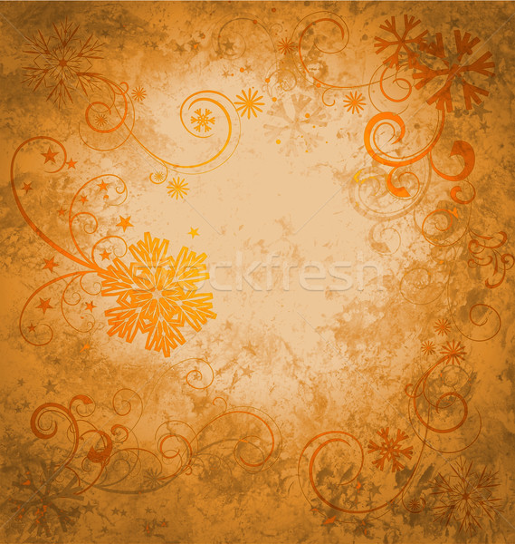 grunge golden textured snowflakes retro background concept idea Stock photo © cherju