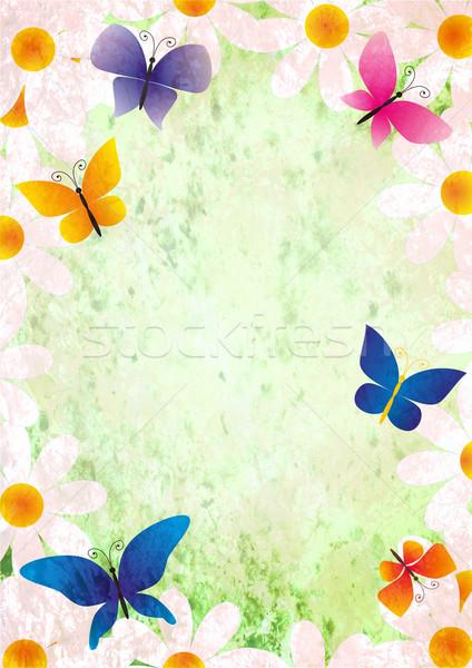 Virágok pillangók grunge stílus tavasz klasszikus Stock fotó © cherju
