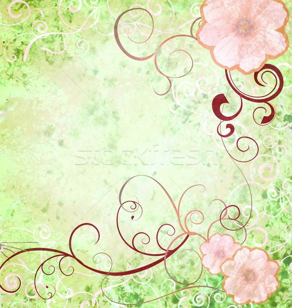 Grunge klasszikus stílus rózsaszín tavaszi virágok zöld Stock fotó © cherju