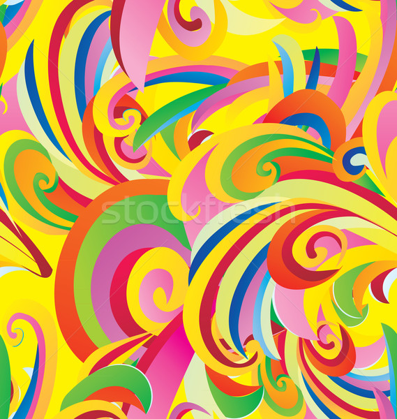 Stock photo: colorful floral curves vintage paper seamless background