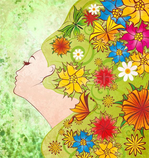 spring flowers fairy face on green grunge background with differ Stock photo © cherju