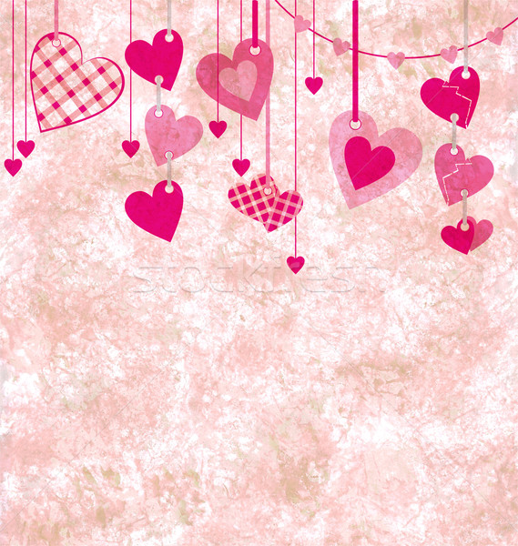 different pink hanging hearts on the grunge light paper backgrou Stock photo © cherju