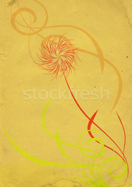 Absztrakt klasszikus virág citromsárga papír tavasz Stock fotó © cherju