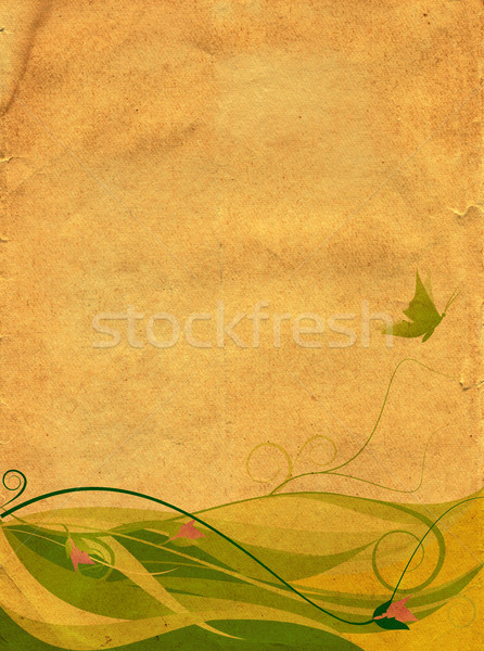 Retro floral background with butterflie Stock photo © cherju