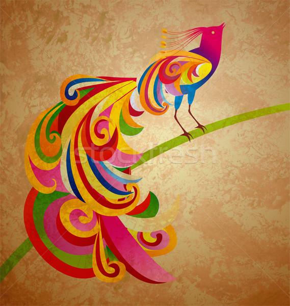 Grunge ilustración decorativo pavo real aves sesión Foto stock © cherju